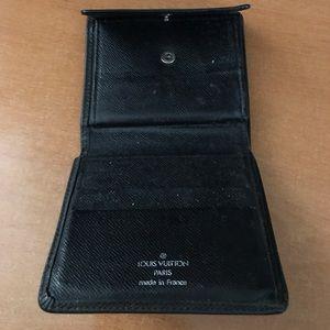 Louis Vuitton Blk Noir Taiga Leather Wallet.  Used